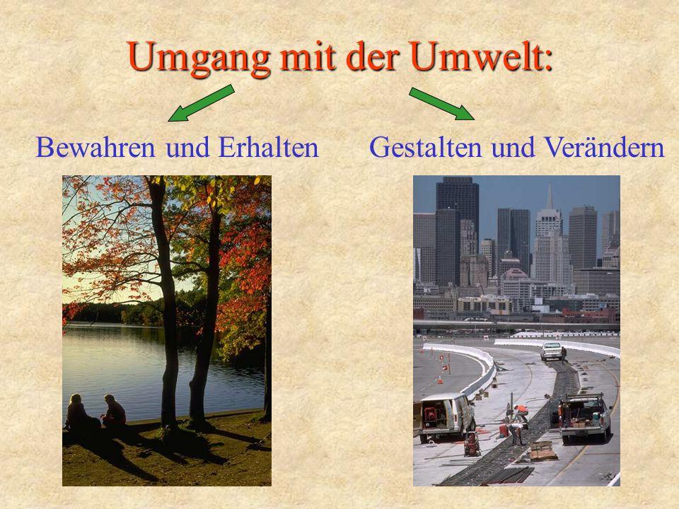 Umgang mit der Umwelt: Bewahren und ErhaltenGestalten und Verändern