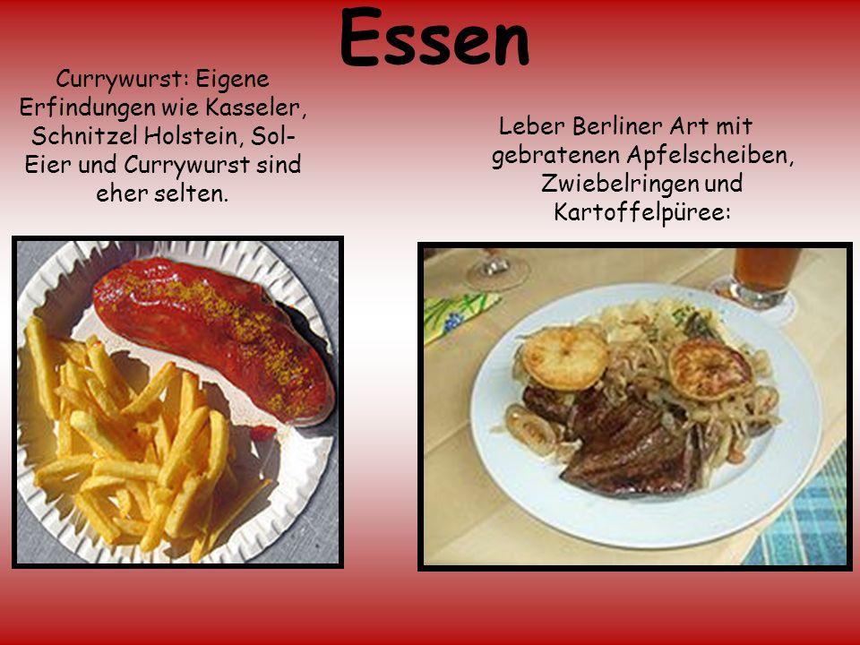 Essen Leber Berliner Art mit gebratenen Apfelscheiben, Zwiebelringen und Kartoffelpüree: Currywurst: Eigene Erfindungen wie Kasseler, Schnitzel Holste