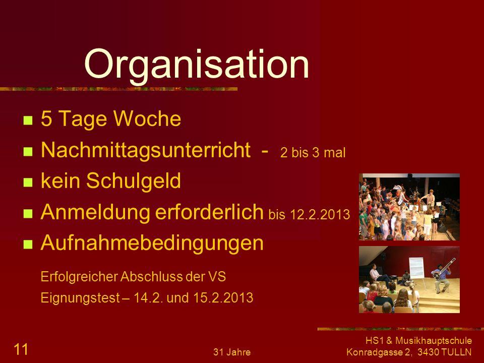 31 Jahre HS1 & Musikhauptschule Konradgasse 2, 3430 TULLN 10 Team 10 Musikerzieher/-innen praxisnah und kompetent Spezialgebiete aktive Musiker