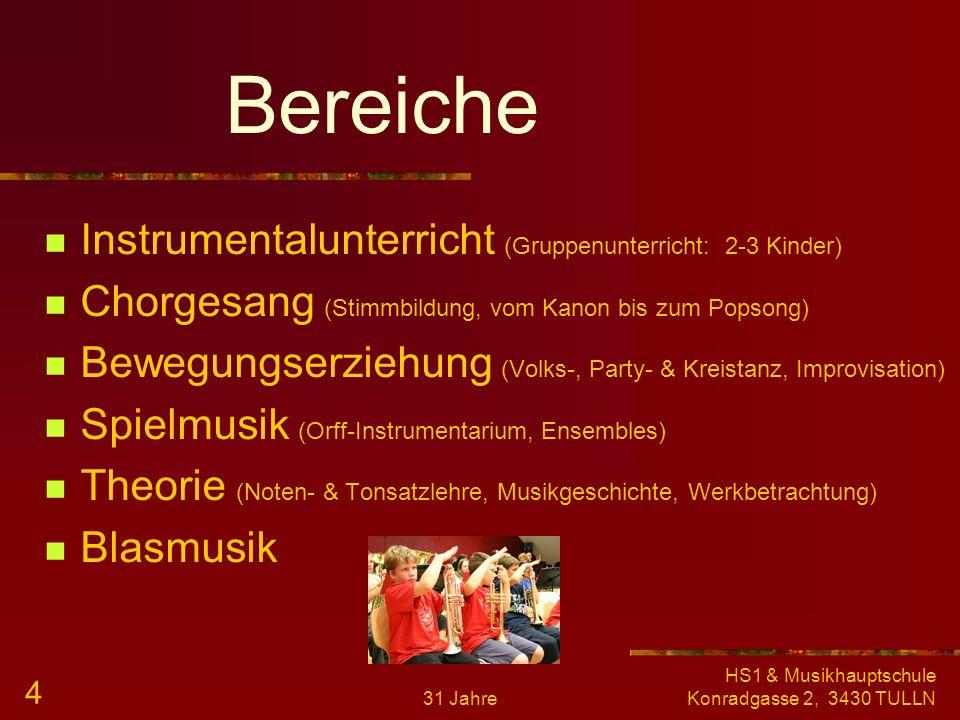 31 Jahre HS1 & Musikhauptschule Konradgasse 2, 3430 TULLN 3 Stundentafel 1. Klasse 6 2. Klasse 5 3. Klasse 5 4. Klasse 5