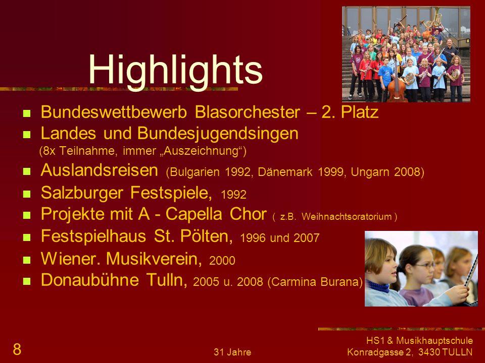 31 Jahre HS1 & Musikhauptschule Konradgasse 2, 3430 TULLN 7 Veranstaltungen Elternabende Teilnahme an Wettbewerben (Orchester, Kammermusik) Konzertbes
