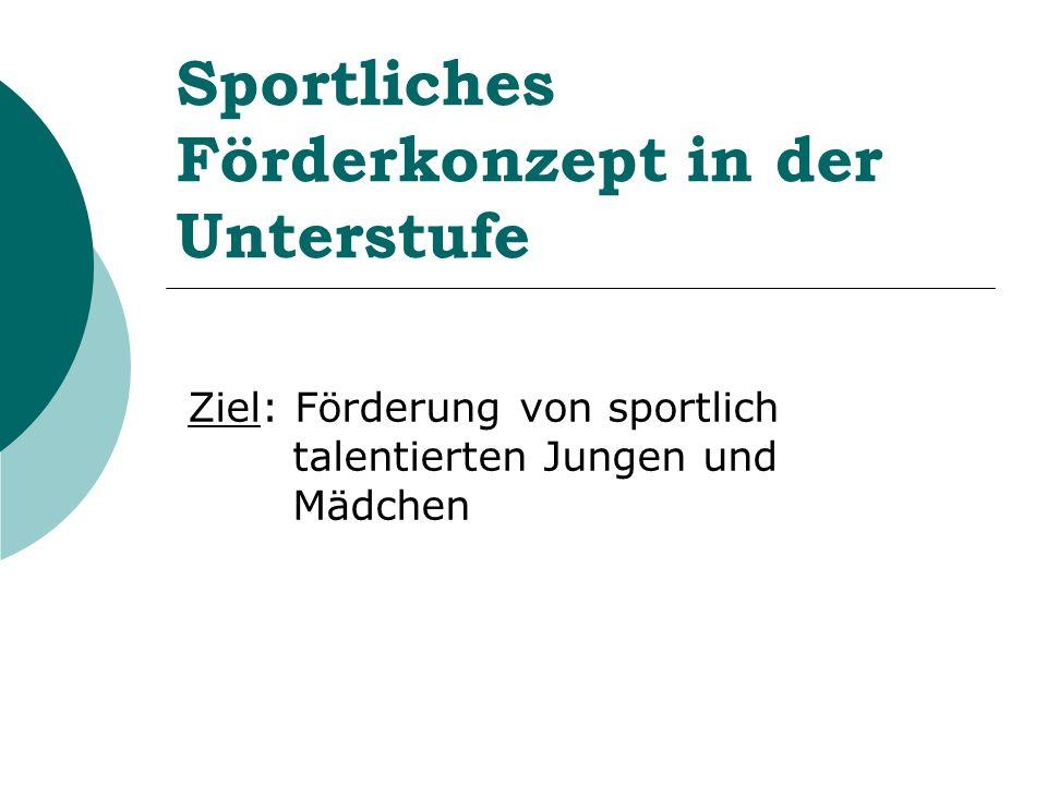 Sportliches Förderkonzept in der Unterstufe Ziel: Förderung von sportlich talentierten Jungen und Mädchen