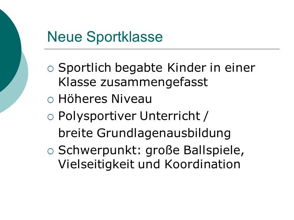 Aufnahmeverfahren Normale Aufnahme aufgrund des Zeugnisses Anmeldung für Sportklasse: ab sofort Aufnahmeprüfung: Mi, 18.