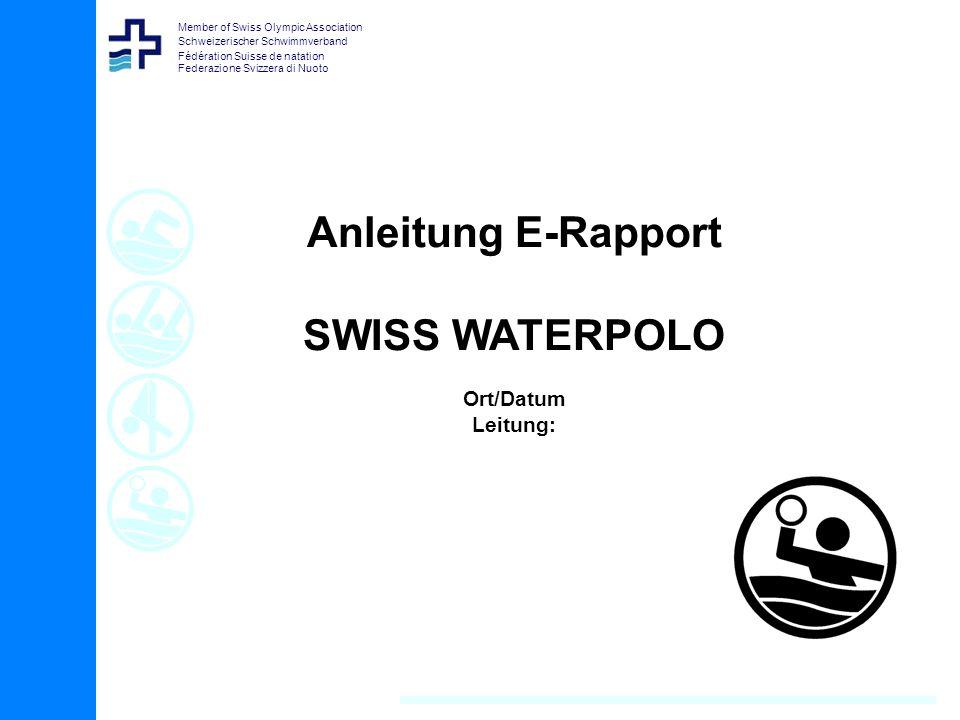 Member of Swiss Olympic Association Schweizerischer Schwimmverband Fédération Suisse de natation Federazione Svizzera di NuotoInhalt Übersicht Inhalt 1.Waterpolo-Timing installieren 2.Vorbereitung (über Internet) 3.Einstellung, Modus festlegen 4.Spiel ins Programm importieren 5.Spiel vorbereiten, erfassen Aufstellung/Spieler 6.E-RAPPORT ausfüllen (ohne Zeitnahme) 7.E-RAPPORT ausfüllen (mit Zeitnahme) 8.E-RAPPORT speichern und unterschreiben 9.E-RAPPORT bei Verband hochladen