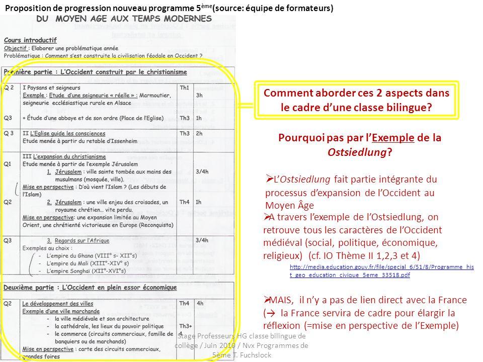 Proposition de progression nouveau programme 5 ème (source: équipe de formateurs) Comment aborder ces 2 aspects dans le cadre dune classe bilingue? Po