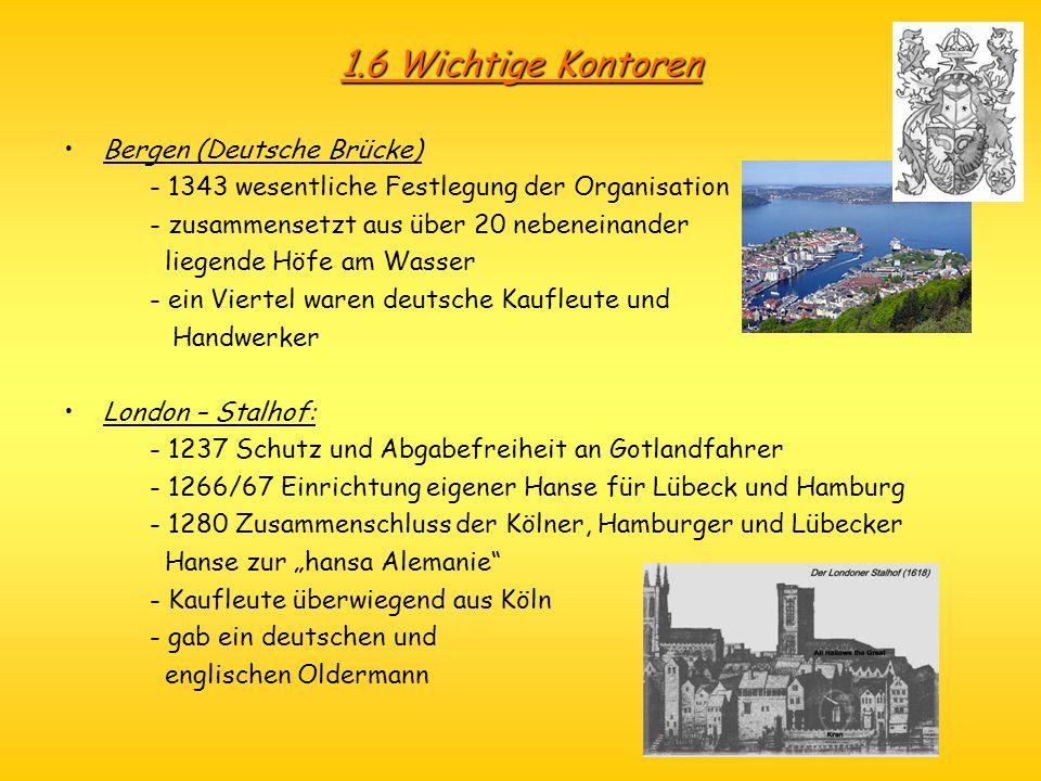 1.6 Wichtige Kontoren Bergen (Deutsche Brücke) - 1343 wesentliche Festlegung der Organisation - zusammensetzt aus über 20 nebeneinander liegende Höfe