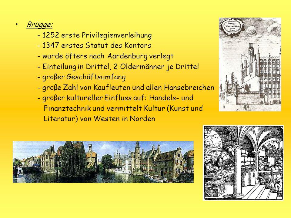 Brügge: - 1252 erste Privilegienverleihung - 1347 erstes Statut des Kontors - wurde öfters nach Aardenburg verlegt - Einteilung in Drittel, 2 Oldermän