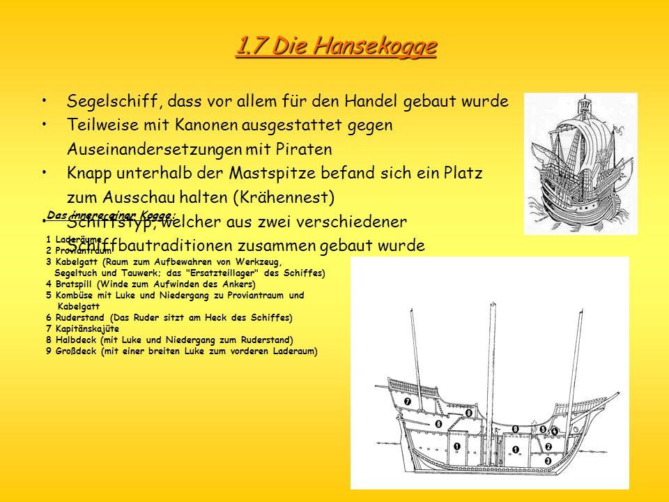 1.7 Die Hansekogge Segelschiff, dass vor allem für den Handel gebaut wurde Teilweise mit Kanonen ausgestattet gegen Auseinandersetzungen mit Piraten K