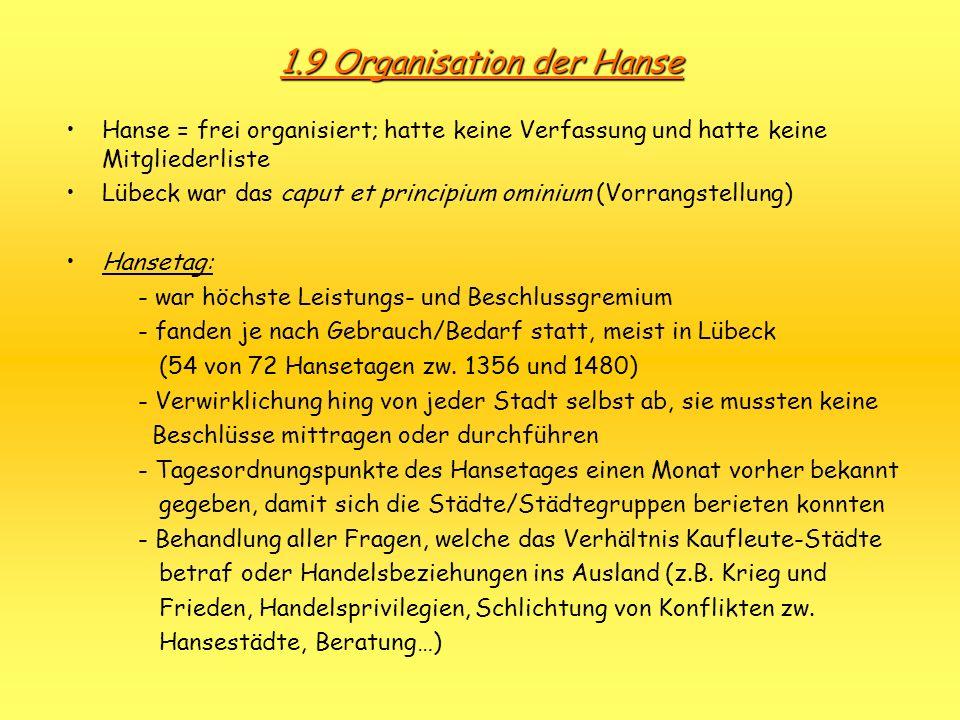 1.9 Organisation der Hanse Hanse = frei organisiert; hatte keine Verfassung und hatte keine Mitgliederliste Lübeck war das caput et principium ominium