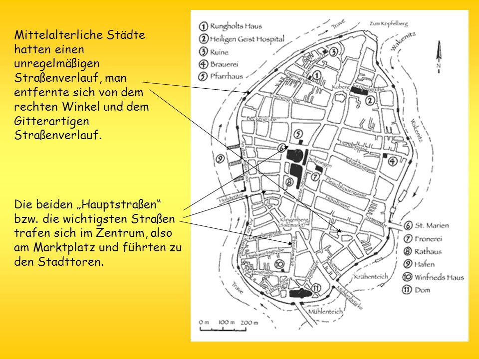 Mittelalterliche Städte hatten einen unregelmäßigen Straßenverlauf, man entfernte sich von dem rechten Winkel und dem Gitterartigen Straßenverlauf. Di