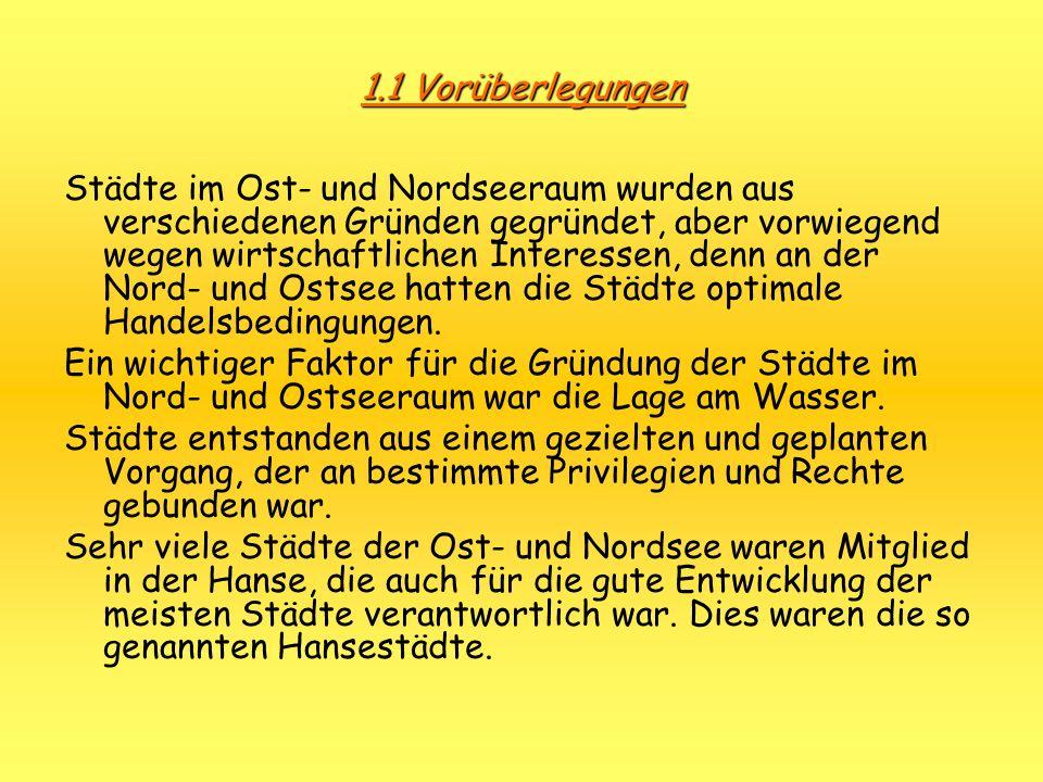 2.1 Geschichtlicher Überblick von Lübeck ZeitEreignis 819Erste slawische Burganlage von Alt-Lübeck 1072Name Liubice 1138Zerstörung Lübecks durch heidnische Slawen 1143Gründung Lübecks als kaufmännische Siedlung 1157Lübeck brennt nieder 1159Erneute Gründung Lübecks 1160Verlegung des Bischofsitzes nach Lübeck; kurz danach Dombau und Bau von anderen Kirchen 1226Lübeck = freie Reichsstadt 1227Gründung des Dominikanerkloster an Stelle der Burg 1239Erste Erwähnung einer Stadtmauer 1341Bündnis zw.