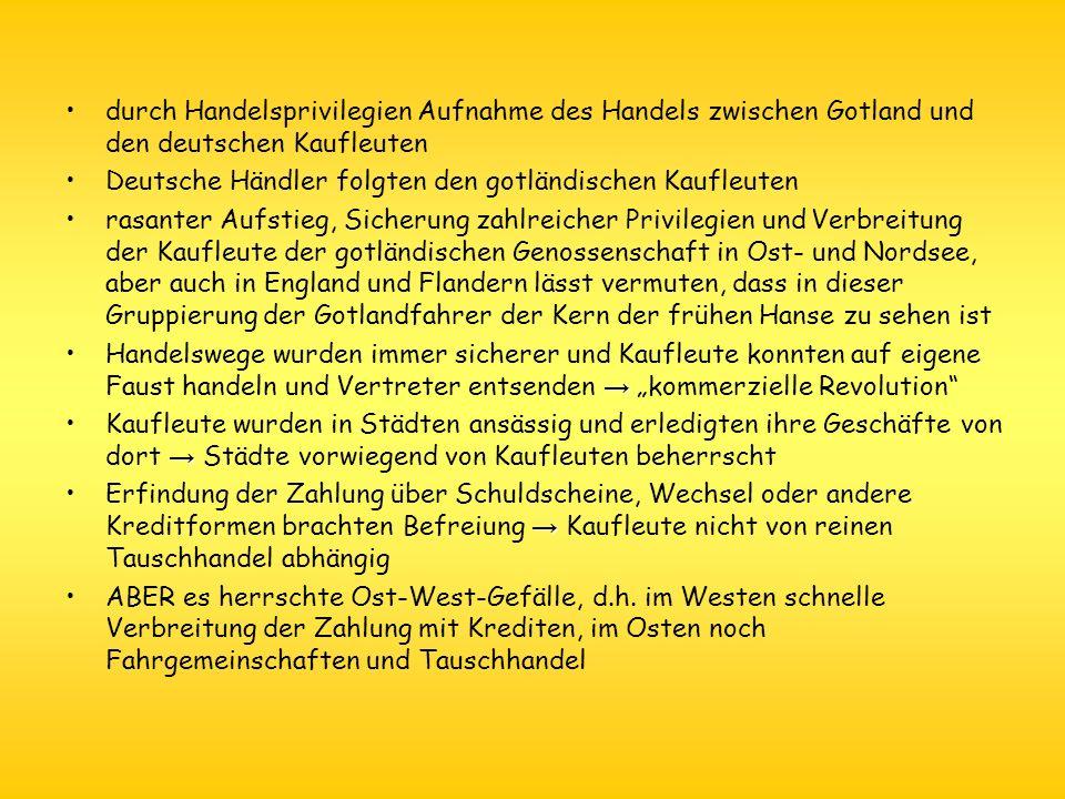 1.9 Organisation der Hanse Hanse = frei organisiert; hatte keine Verfassung und hatte keine Mitgliederliste Lübeck war das caput et principium ominium (Vorrangstellung) Hansetag: - war höchste Leistungs- und Beschlussgremium - fanden je nach Gebrauch/Bedarf statt, meist in Lübeck (54 von 72 Hansetagen zw.