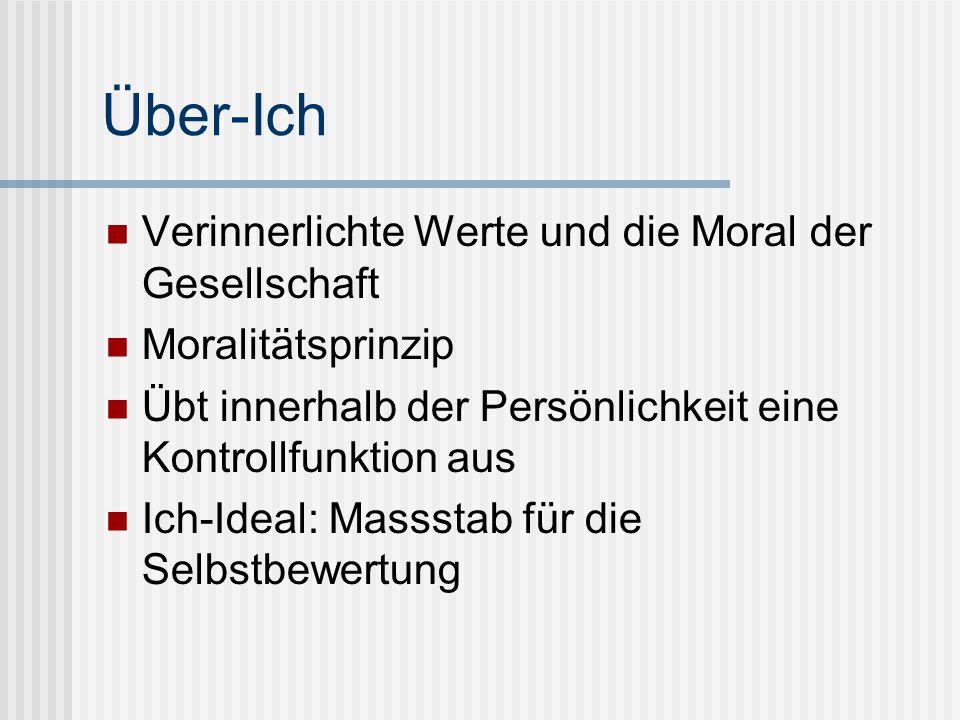 Über-Ich Verinnerlichte Werte und die Moral der Gesellschaft Moralitätsprinzip Übt innerhalb der Persönlichkeit eine Kontrollfunktion aus Ich-Ideal: M