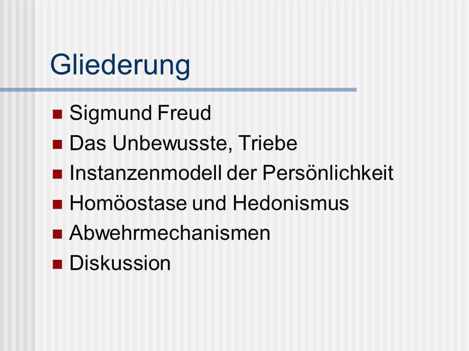 Gliederung Sigmund Freud Das Unbewusste, Triebe Instanzenmodell der Persönlichkeit Homöostase und Hedonismus Abwehrmechanismen Diskussion