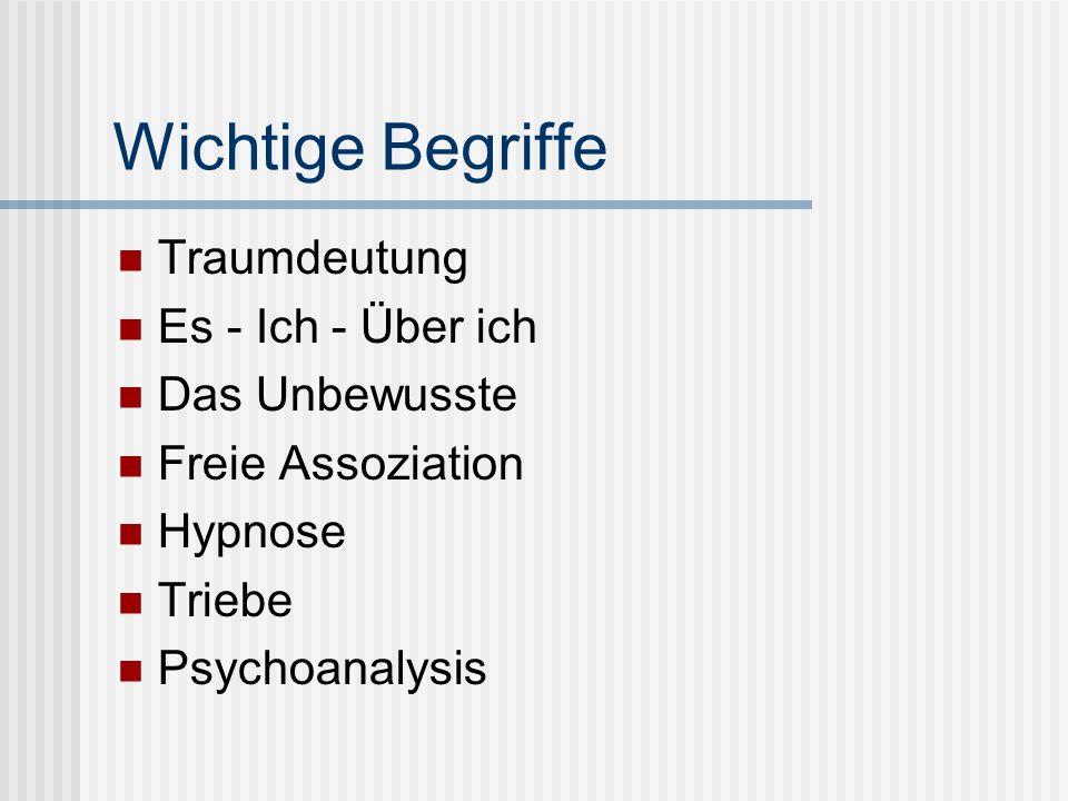 Wichtige Begriffe Traumdeutung Es - Ich - Über ich Das Unbewusste Freie Assoziation Hypnose Triebe Psychoanalysis