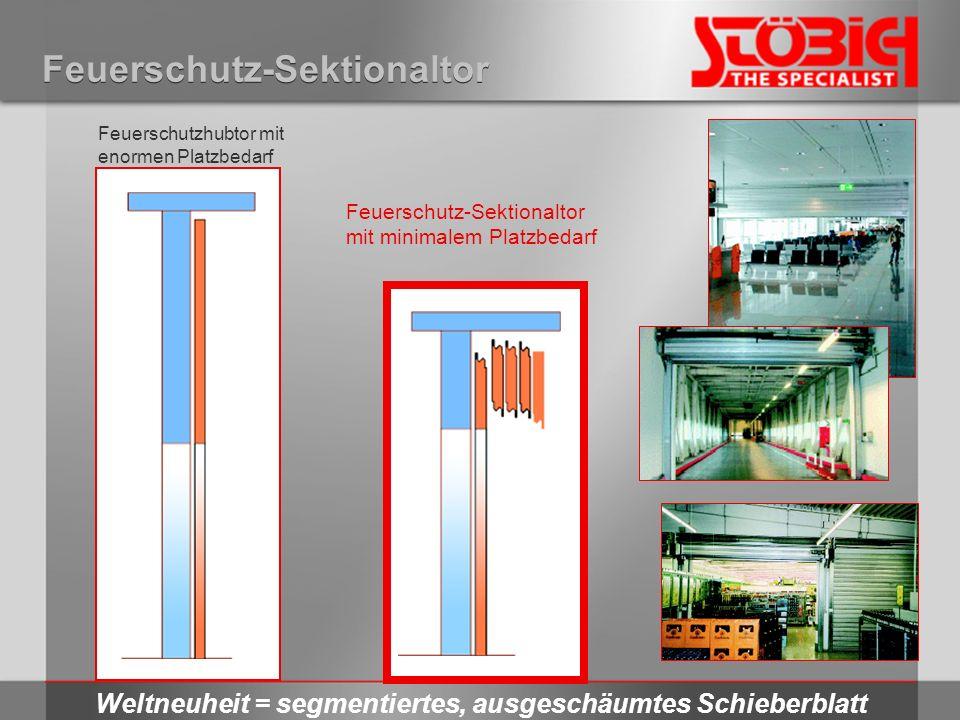 Feuerschutz-Sektionaltor Weltneuheit = segmentiertes, ausgeschäumtes Schieberblatt Feuerschutzhubtor mit enormen Platzbedarf Feuerschutz-Sektionaltor