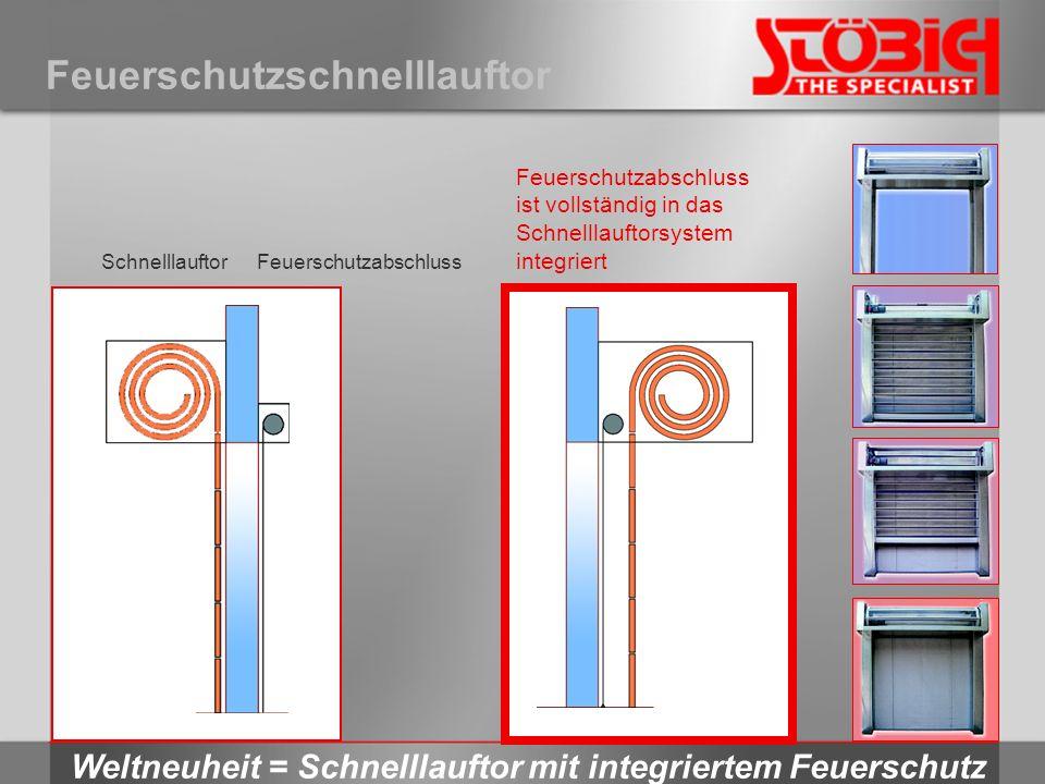 Feuerschutzschnelllauftor Weltneuheit = Schnelllauftor mit integriertem Feuerschutz SchnelllauftorFeuerschutzabschluss ist vollständig in das Schnelll