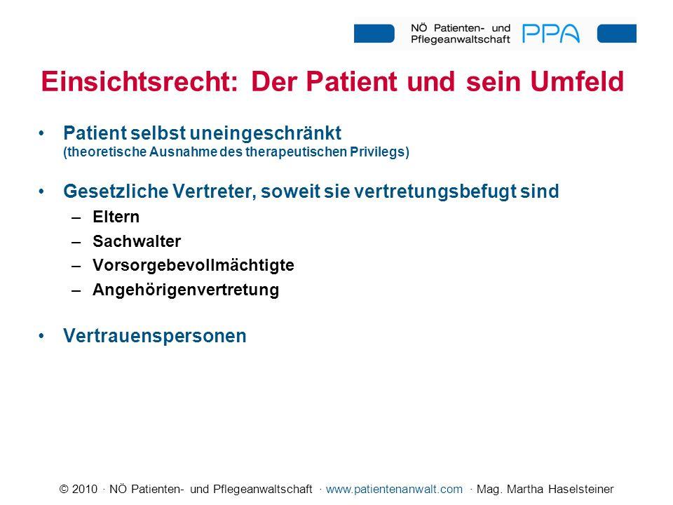 © 2010 · NÖ Patienten- und Pflegeanwaltschaft · www.patientenanwalt.com · Mag. Martha Haselsteiner Einsichtsrecht: Der Patient und sein Umfeld Patient