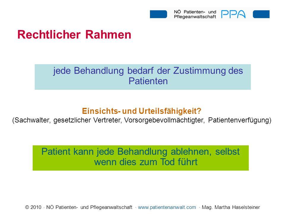 © 2010 · NÖ Patienten- und Pflegeanwaltschaft · www.patientenanwalt.com · Mag. Martha Haselsteiner Rechtlicher Rahmen jede Behandlung bedarf der Zusti
