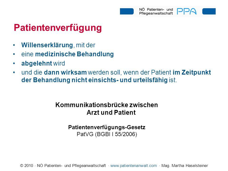 © 2010 · NÖ Patienten- und Pflegeanwaltschaft · www.patientenanwalt.com · Mag. Martha Haselsteiner Patientenverfügung Kommunikationsbrücke zwischen Ar