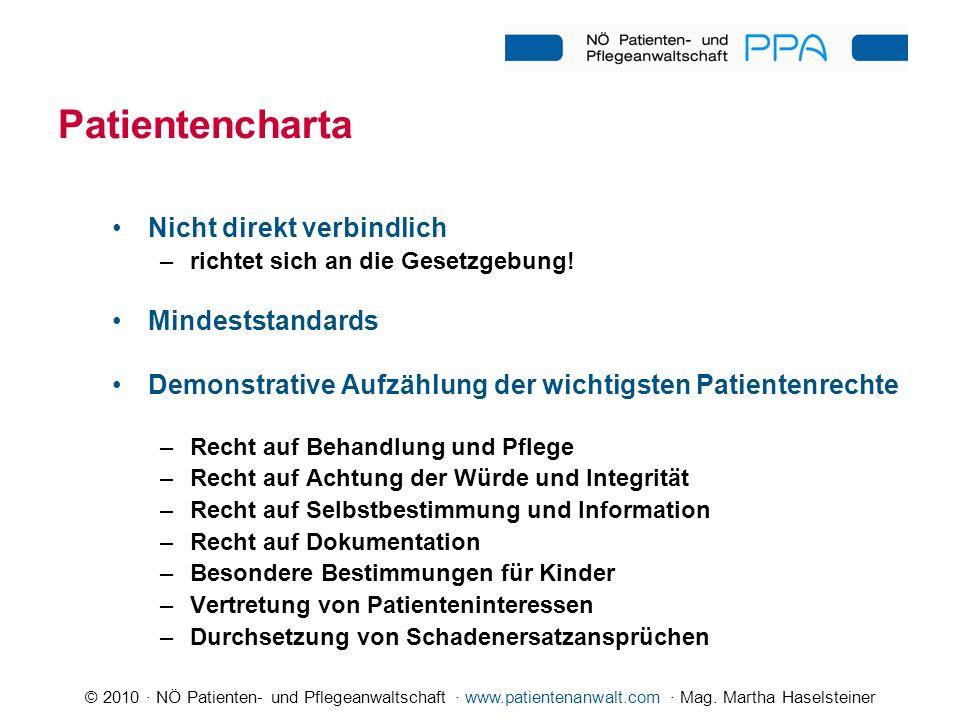 © 2010 · NÖ Patienten- und Pflegeanwaltschaft · www.patientenanwalt.com · Mag. Martha Haselsteiner Patientencharta Nicht direkt verbindlich –richtet s