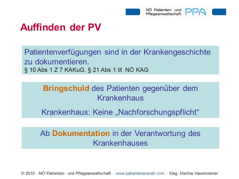 © 2010 · NÖ Patienten- und Pflegeanwaltschaft · www.patientenanwalt.com · Mag. Martha Haselsteiner Auffinden der PV Patientenverfügungen sind in der K