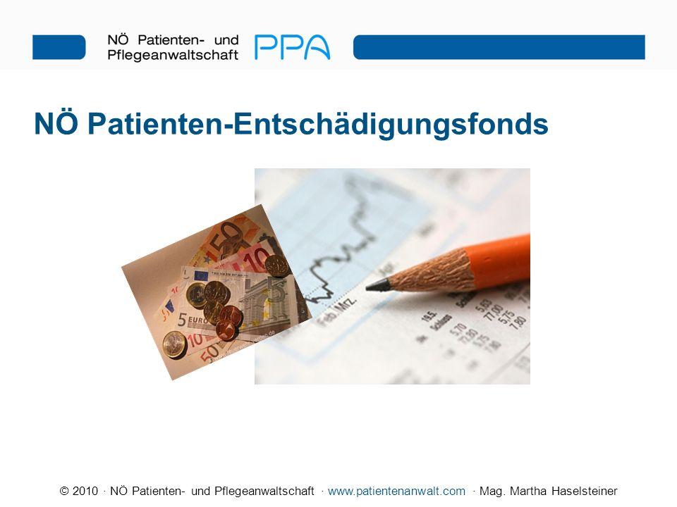 © 2010 · NÖ Patienten- und Pflegeanwaltschaft · www.patientenanwalt.com · Mag. Martha Haselsteiner NÖ Patienten-Entschädigungsfonds
