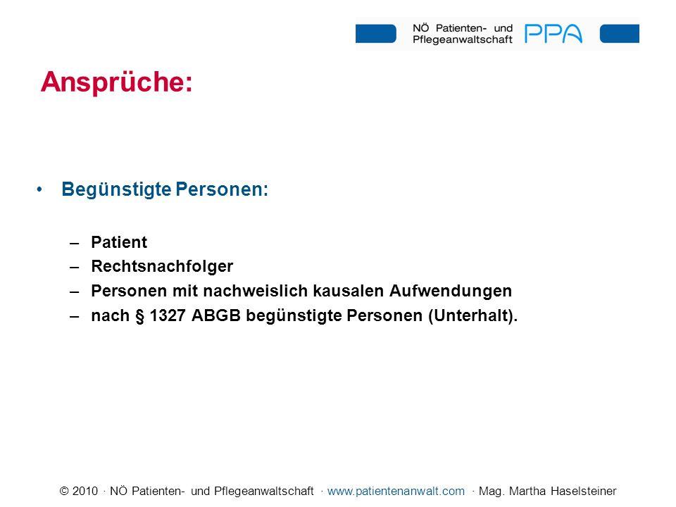 © 2010 · NÖ Patienten- und Pflegeanwaltschaft · www.patientenanwalt.com · Mag. Martha Haselsteiner Ansprüche: Begünstigte Personen: –Patient –Rechtsna