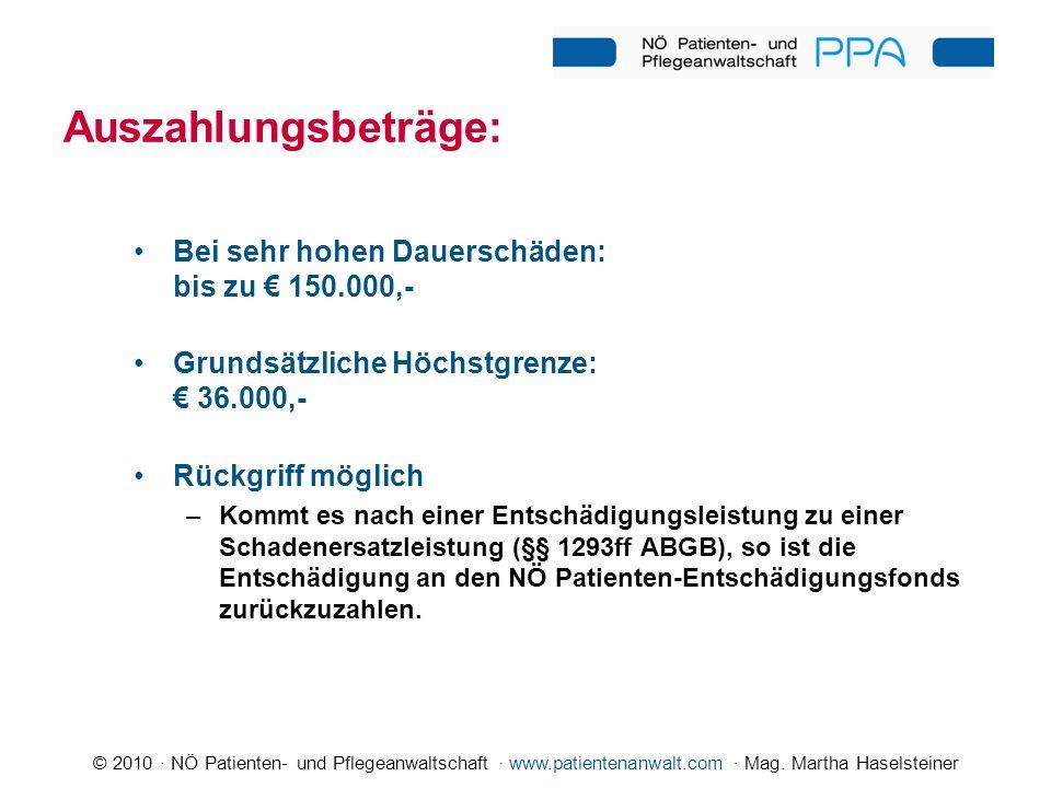 © 2010 · NÖ Patienten- und Pflegeanwaltschaft · www.patientenanwalt.com · Mag. Martha Haselsteiner Auszahlungsbeträge: Bei sehr hohen Dauerschäden: bi