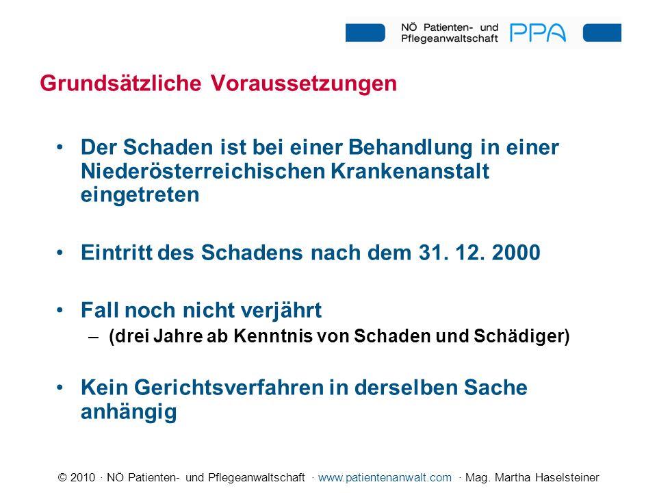 © 2010 · NÖ Patienten- und Pflegeanwaltschaft · www.patientenanwalt.com · Mag. Martha Haselsteiner Grundsätzliche Voraussetzungen Der Schaden ist bei