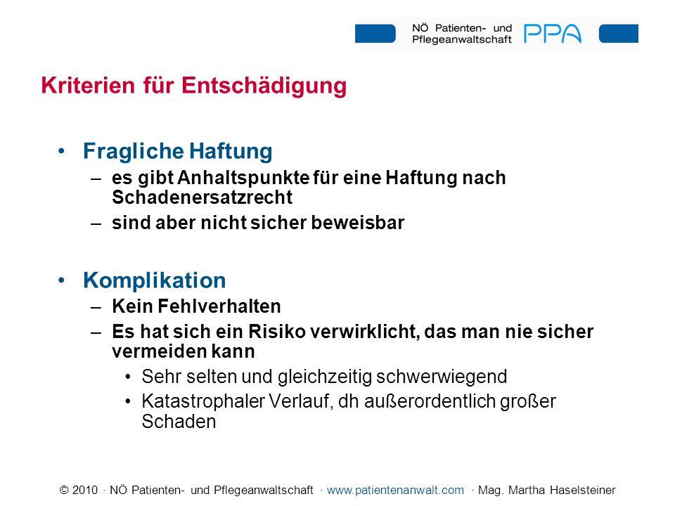 © 2010 · NÖ Patienten- und Pflegeanwaltschaft · www.patientenanwalt.com · Mag. Martha Haselsteiner Kriterien für Entschädigung Fragliche Haftung –es g