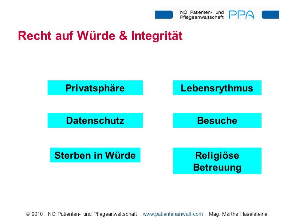 © 2010 · NÖ Patienten- und Pflegeanwaltschaft · www.patientenanwalt.com · Mag. Martha Haselsteiner Religiöse Betreuung LebensrythmusPrivatsphäre Daten