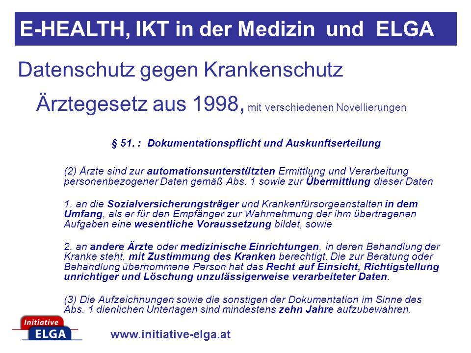 www.initiative-elga.at Datenschutz gegen Krankenschutz Ärztegesetz aus 1998, mit verschiedenen Novellierungen § 51.