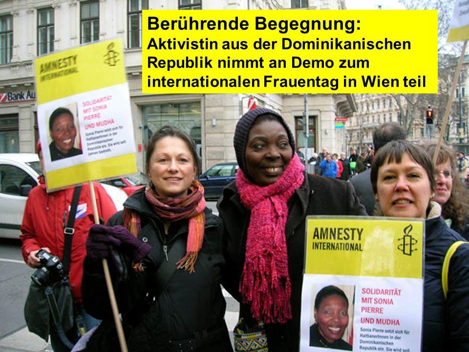Berührende Begegnung: Aktivistin aus der Dominikanischen Republik nimmt an Demo zum internationalen Frauentag in Wien teil