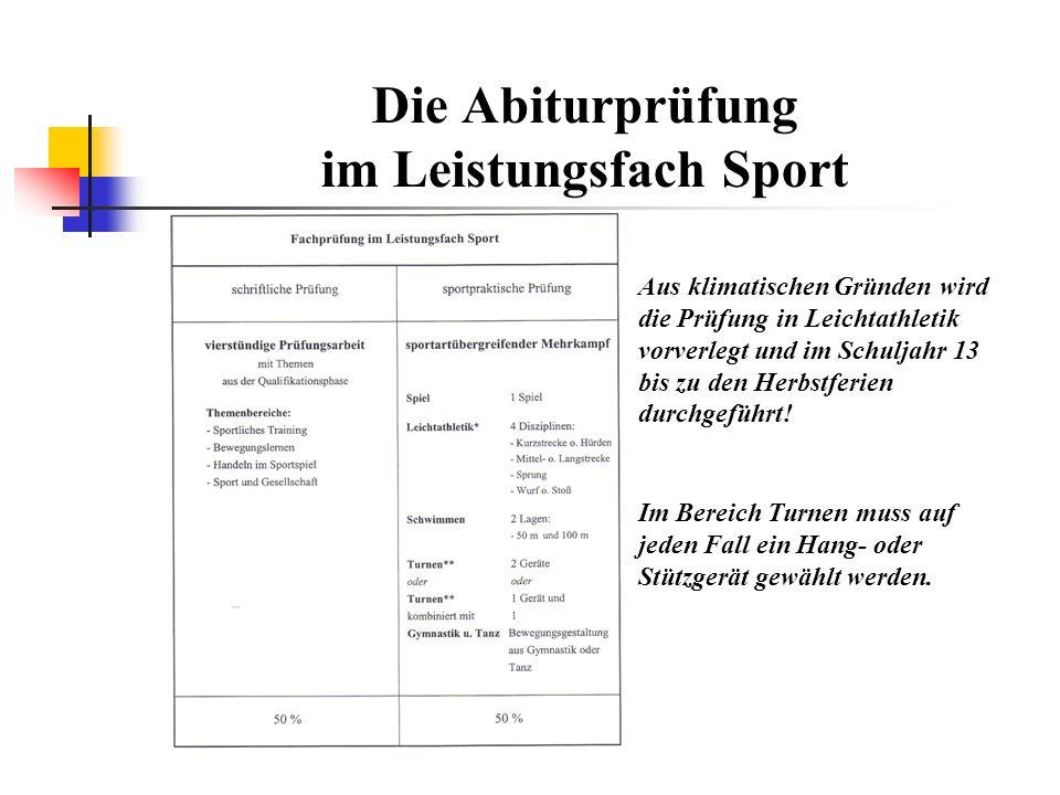 Die Abiturprüfung im Leistungsfach Sport Aus klimatischen Gründen wird die Prüfung in Leichtathletik vorverlegt und im Schuljahr 13 bis zu den Herbstferien durchgeführt.