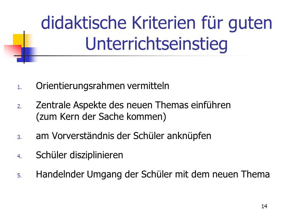 14 didaktische Kriterien für guten Unterrichtseinstieg 1.