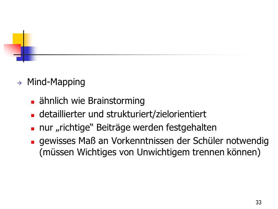 33 Mind-Mapping ähnlich wie Brainstorming detaillierter und strukturiert/zielorientiert nur richtige Beiträge werden festgehalten gewisses Maß an Vorkenntnissen der Schüler notwendig (müssen Wichtiges von Unwichtigem trennen können)