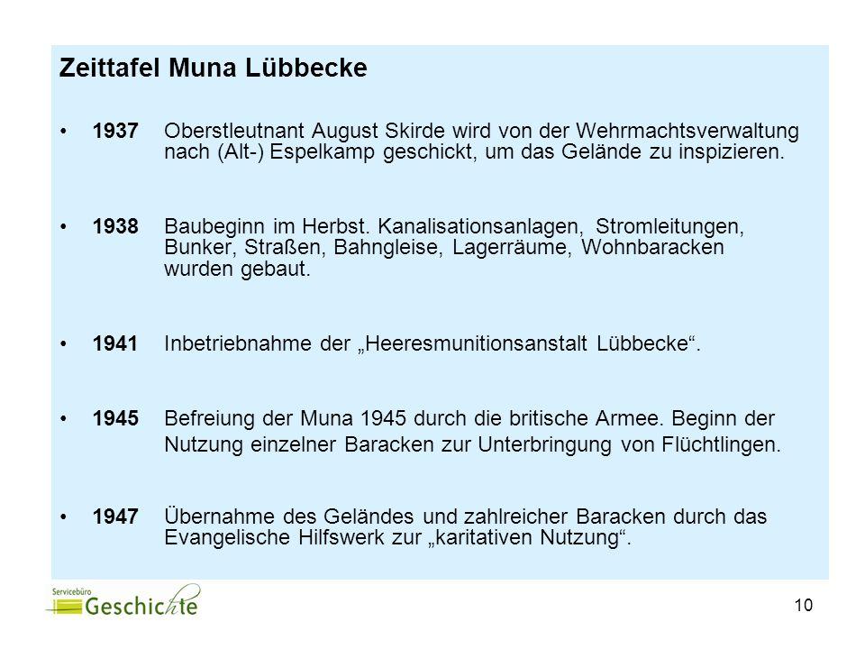 10 Zeittafel Muna Lübbecke 1937 Oberstleutnant August Skirde wird von der Wehrmachtsverwaltung nach (Alt-) Espelkamp geschickt, um das Gelände zu insp