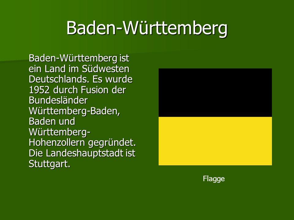 Baden-Württemberg Baden-Württemberg ist ein Land im Südwesten Deutschlands. Es wurde 1952 durch Fusion der Bundesländer Württemberg-Baden, Baden und W