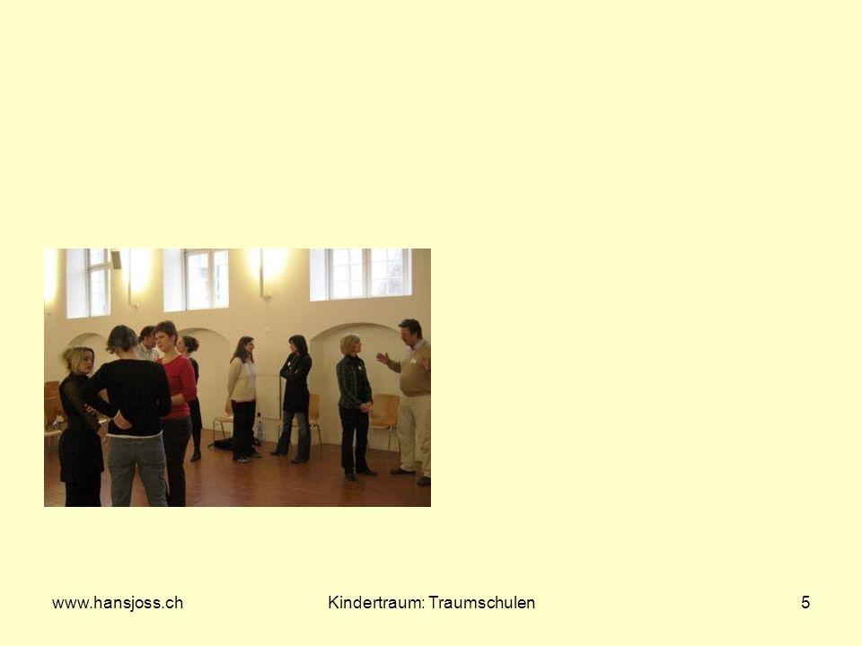 www.hansjoss.chKindertraum: Traumschulen6 Gelenkte Fantasiereisen Erinnerungen an die eigene Schulzeit Gruppenfantasie: Traumschule: Ausstattung entsprechend den menschlichen Grundbedürfnissen.