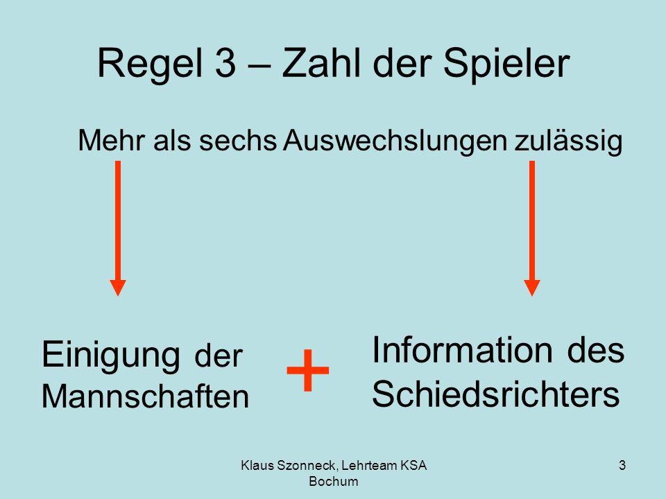 Klaus Szonneck, Lehrteam KSA Bochum 3 Regel 3 – Zahl der Spieler Mehr als sechs Auswechslungen zulässig Einigung der Mannschaften + Information des Sc