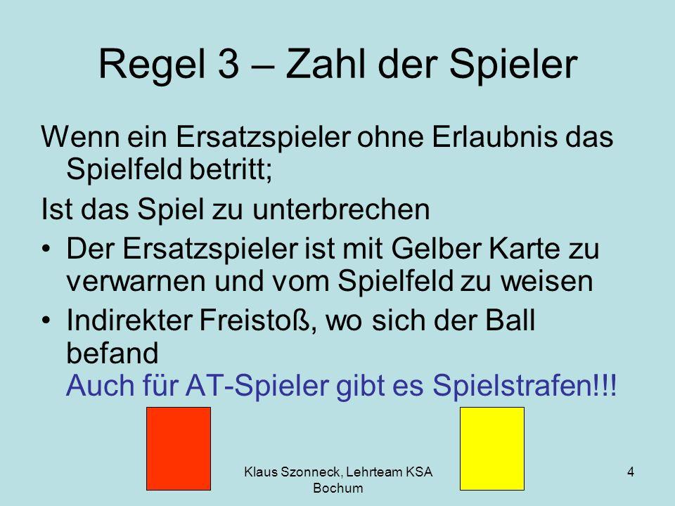 Klaus Szonneck, Lehrteam KSA Bochum 4 Regel 3 – Zahl der Spieler Wenn ein Ersatzspieler ohne Erlaubnis das Spielfeld betritt; Ist das Spiel zu unterbr
