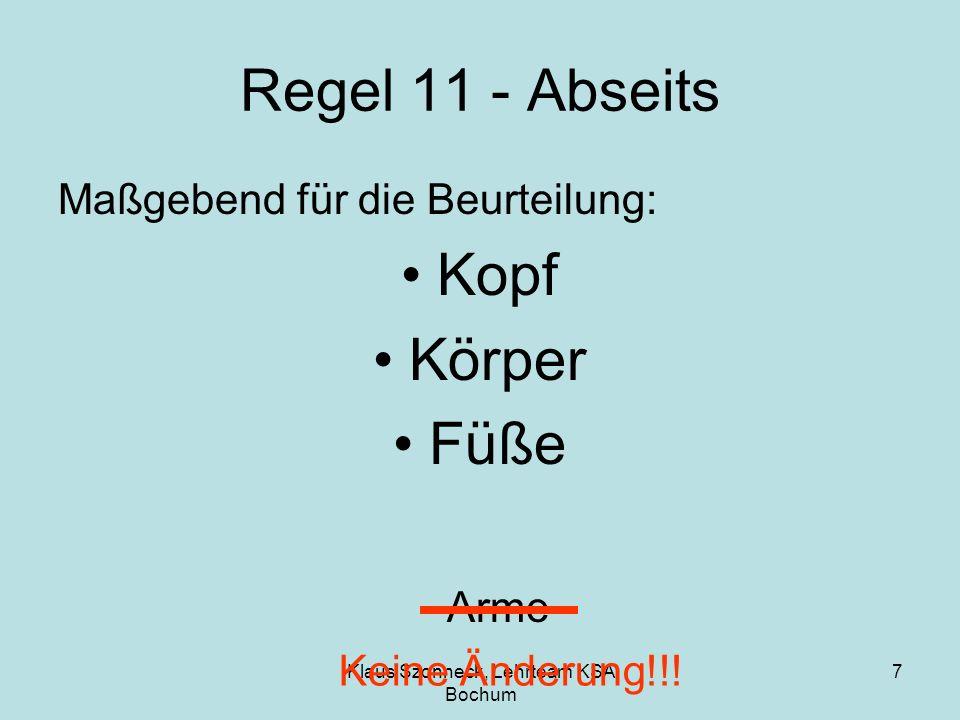 Klaus Szonneck, Lehrteam KSA Bochum 7 Regel 11 - Abseits Maßgebend für die Beurteilung: Kopf Körper Füße Arme Keine Änderung!!!