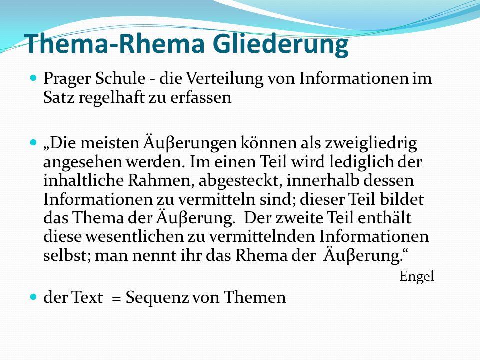 Thema-Rhema Gliederung Prager Schule - die Verteilung von Informationen im Satz regelhaft zu erfassen Die meisten Äuβerungen können als zweigliedrig a