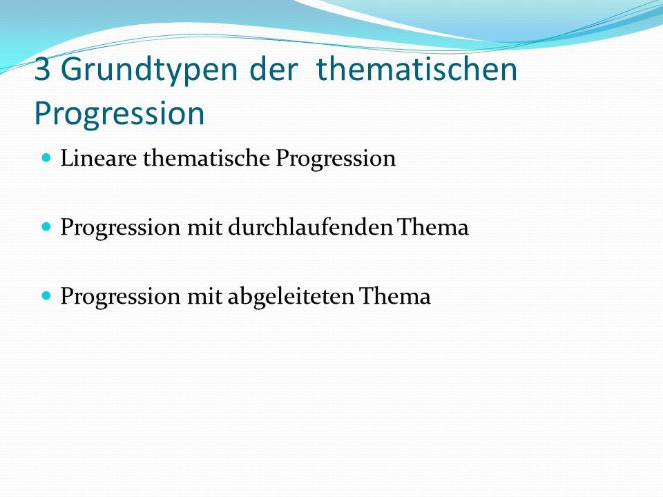 3 Grundtypen der thematischen Progression Lineare thematische Progression Progression mit durchlaufenden Thema Progression mit abgeleiteten Thema