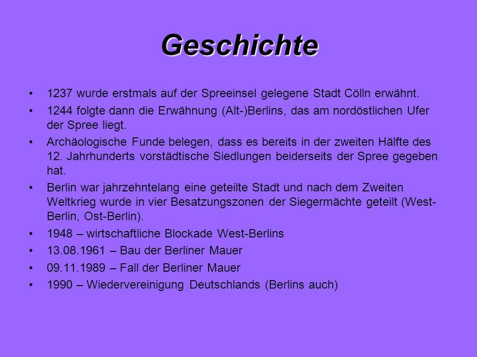 Geschichte 1237 wurde erstmals auf der Spreeinsel gelegene Stadt Cölln erwähnt. 1244 folgte dann die Erwähnung (Alt-)Berlins, das am nordöstlichen Ufe