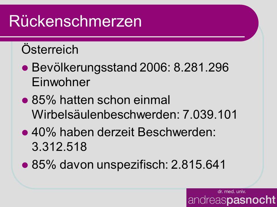 Rückenschmerzen Österreich Bevölkerungsstand 2006: 8.281.296 Einwohner 85% hatten schon einmal Wirbelsäulenbeschwerden: 7.039.101 40% haben derzeit Beschwerden: 3.312.518 85% davon unspezifisch: 2.815.641