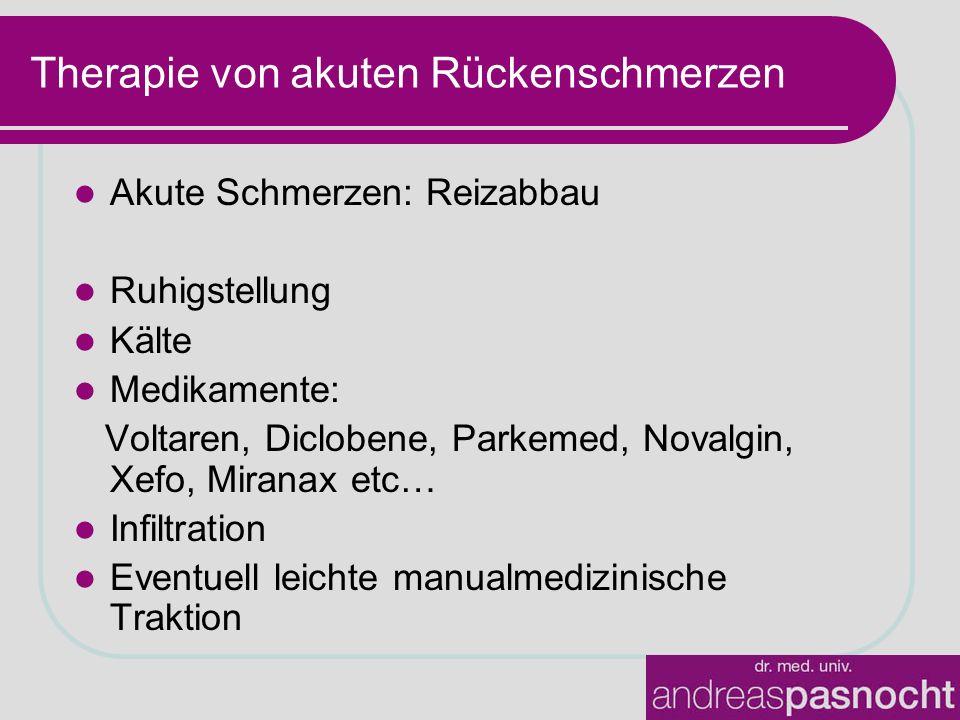 Therapie von akuten Rückenschmerzen Akute Schmerzen: Reizabbau Ruhigstellung Kälte Medikamente: Voltaren, Diclobene, Parkemed, Novalgin, Xefo, Miranax etc… Infiltration Eventuell leichte manualmedizinische Traktion