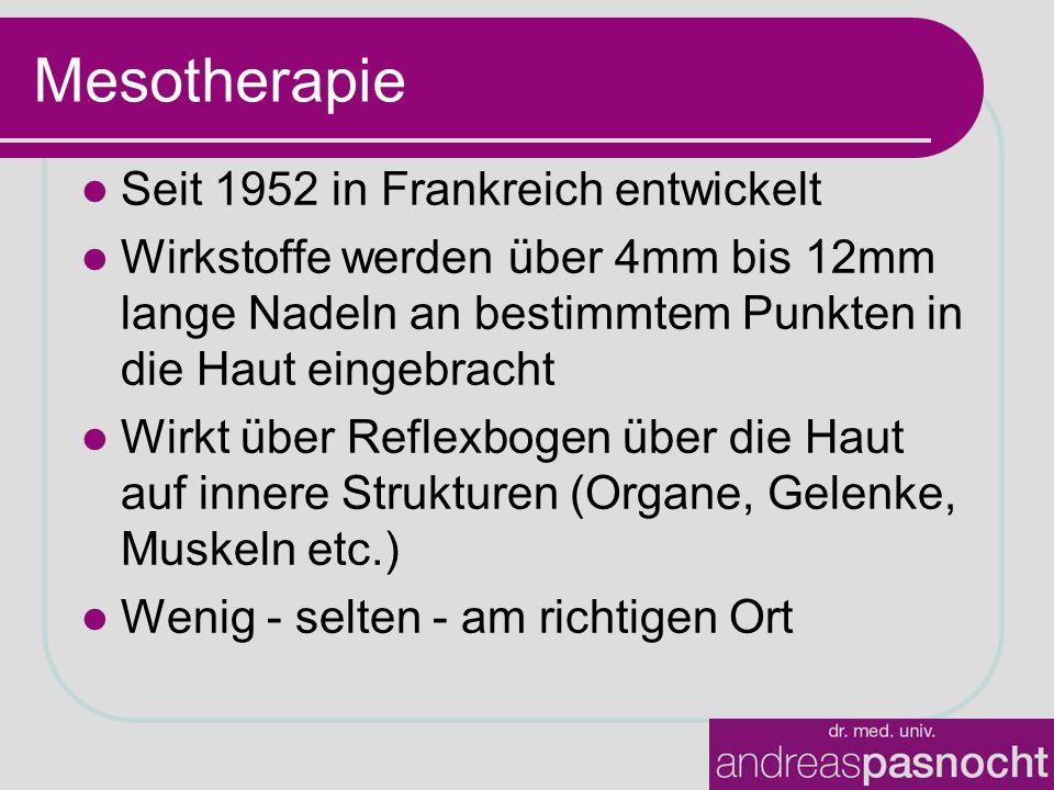 Seit 1952 in Frankreich entwickelt Wirkstoffe werden über 4mm bis 12mm lange Nadeln an bestimmtem Punkten in die Haut eingebracht Wirkt über Reflexbog