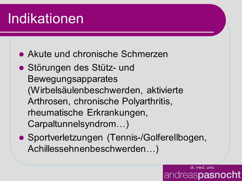 Indikationen Akute und chronische Schmerzen Störungen des Stütz- und Bewegungsapparates (Wirbelsäulenbeschwerden, aktivierte Arthrosen, chronische Polyarthritis, rheumatische Erkrankungen, Carpaltunnelsyndrom…) Sportverletzungen (Tennis-/Golferellbogen, Achillessehnenbeschwerden…)